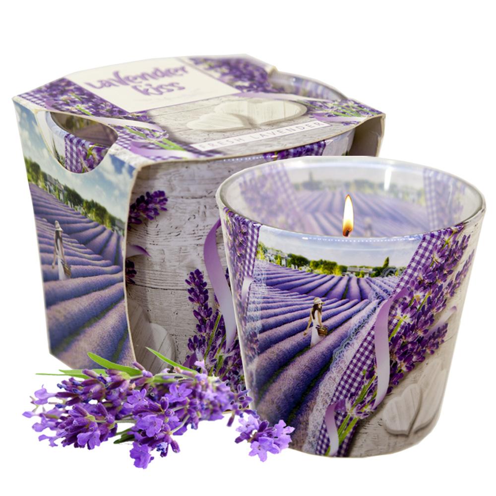 Ly nến thơm tinh dầu Bartek Lavender Kiss 115g QT00663 - nụ hoa oải hương (giao mẫu ngẫu nhiên)