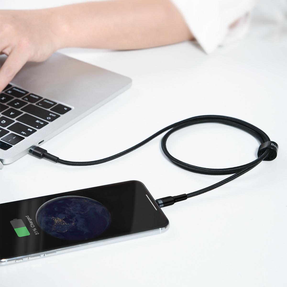 Cáp sạc nhanh 18W dùng cho iPhone, iPhone - Baseus Cafule Data Cable Type-C to iP - Hàng nhập khẩu