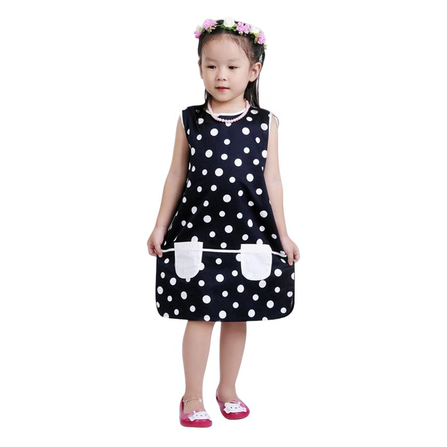 Đầm Suông Bé Gái Chấm Bi Phối 2 Túi Ugether UKID29 - Chấm Bi Size 78