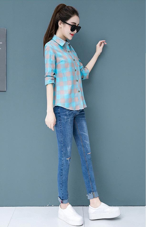 Áo sơ mi nữ công sở 1 túi kẻ caro màu Haint Boutique Sm01