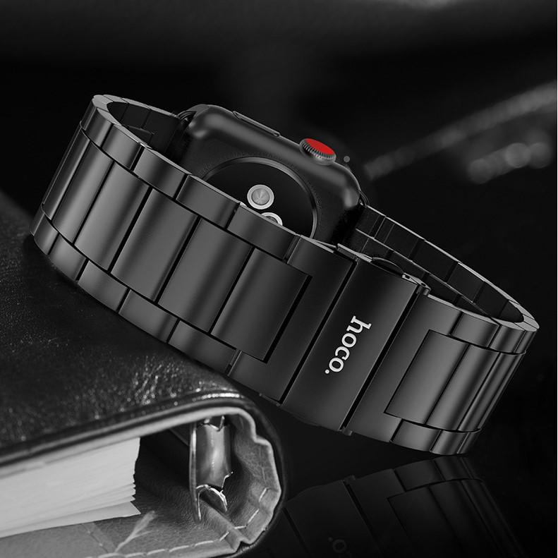 Dây Thép cho đồng hồ Apple Watch 44/42mm Hoco mẫu chốt Tự tháo mắt _ Hàng nhập khẩu