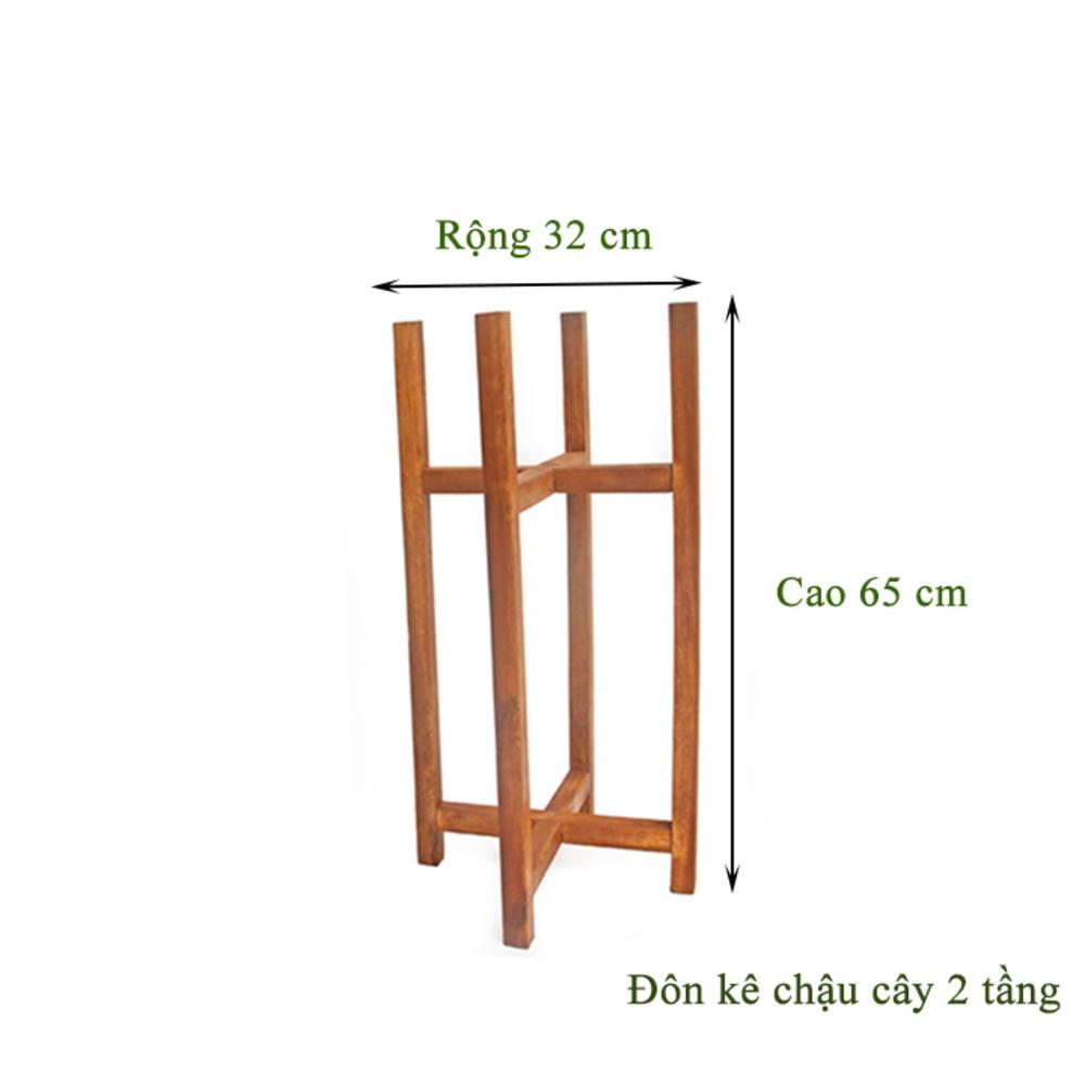 Đôn kê chậu cây 2 tầng cao cấp Greenhome- R32XC65cm- Chất liệu gỗ Tràm Bông vàng độ bền cao