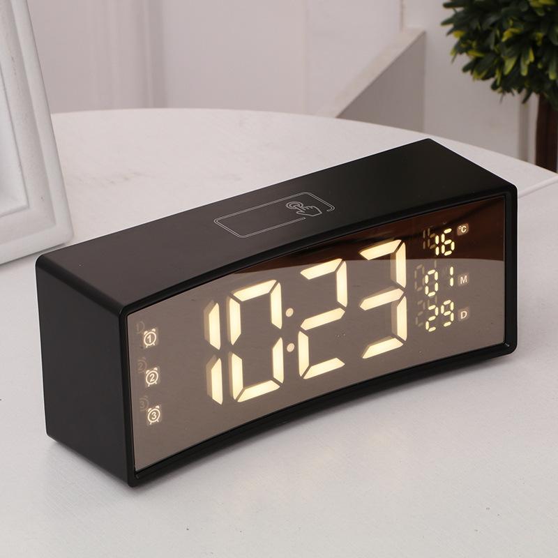 Đồng hồ TEAKA LED 3D màn hình gương cong để bàn hiện đại, tiện dụng với nhiều chức năng.