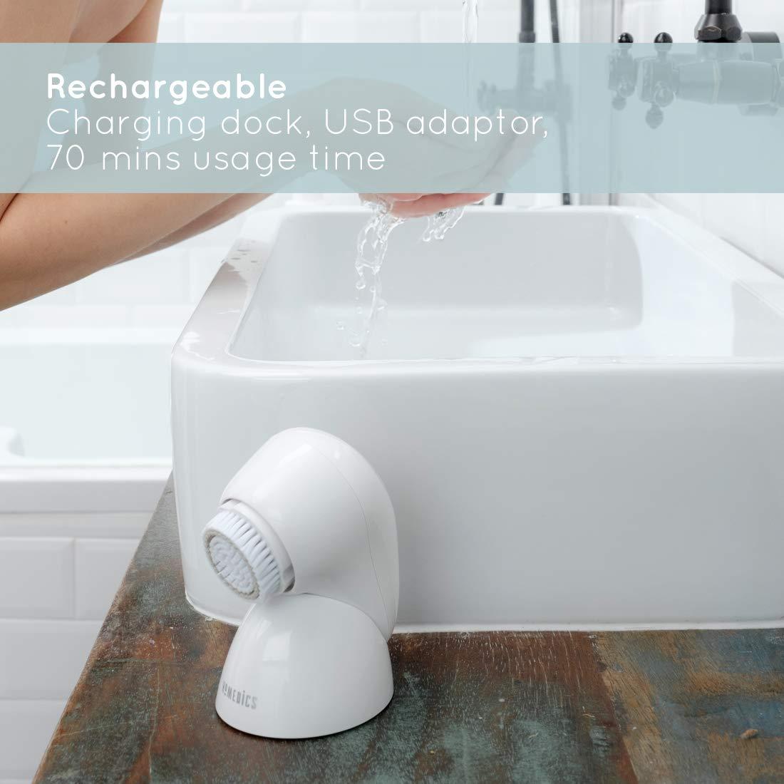 Máy rửa mặt cao cấp USA công nghệ siêu âm 3D chuyên nghiệp HoMedics FAC-600-EU, sạc không dây, đầu đẩy dưỡng chất silicone nhập khẩu USA