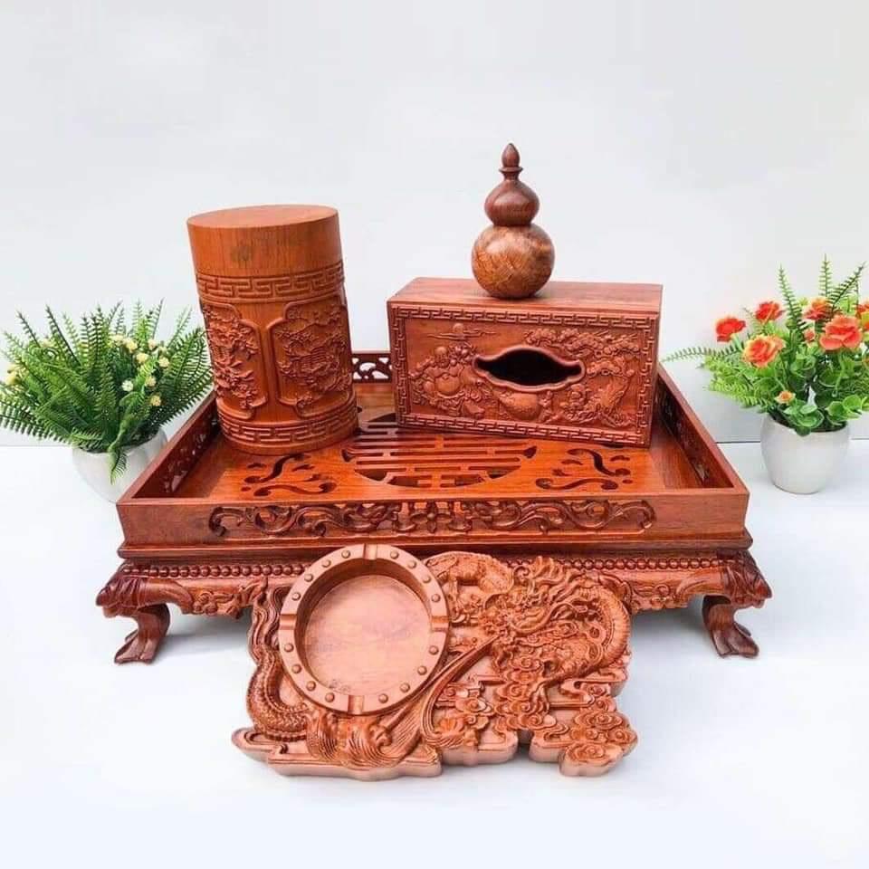 Combo 5 món khay trà rồng, hộp đựng giấy, hộp đựng chè, gạt tàn thuốc, lọ đựng tăm