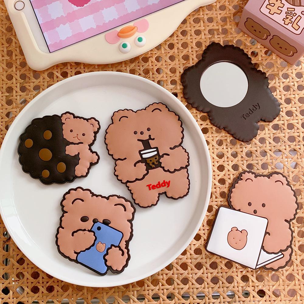 [Có sẵn] Gương Bỏ Túi Hình Bánh Quy Gấu Trà Sữa
