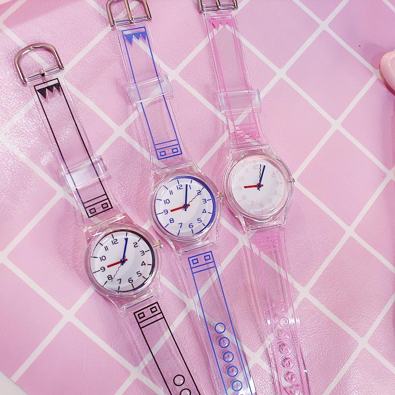 Đồng hồ thời trang nữ mặt số Nt1 dây nhựa dẻo trong suốt