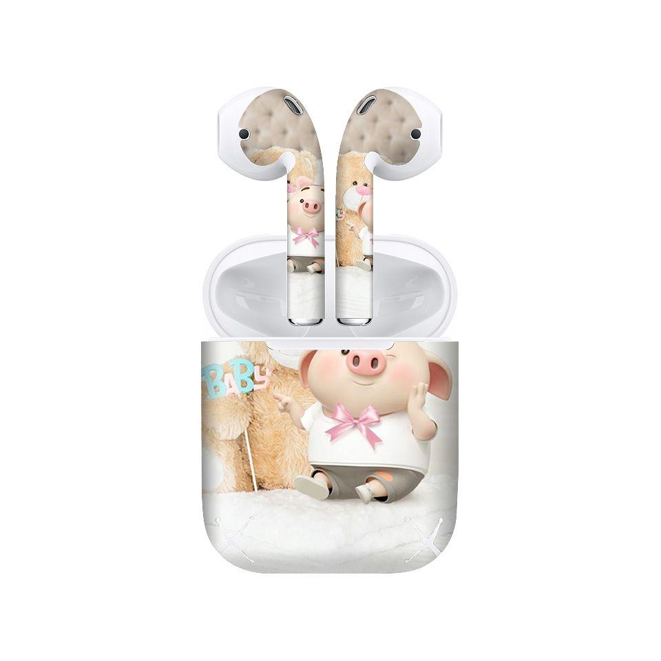 Miếng dán skin chống bẩn cho tai nghe AirPods in hình Heo con dễ thương - HEO2k19 - 160 (bản không dây 1 và 2)