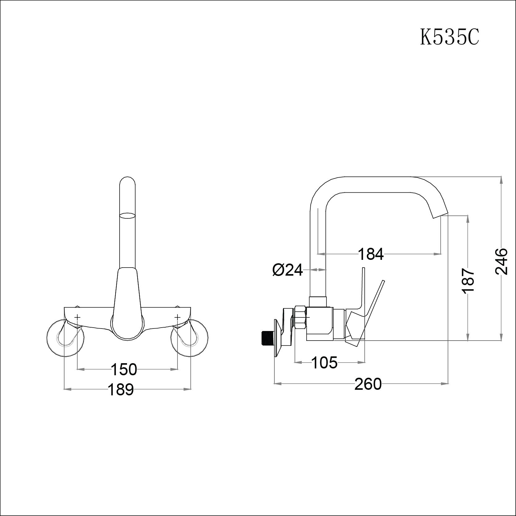 Vòi rửa bát (chén) nóng lạnh gắn tường Caesar K535C