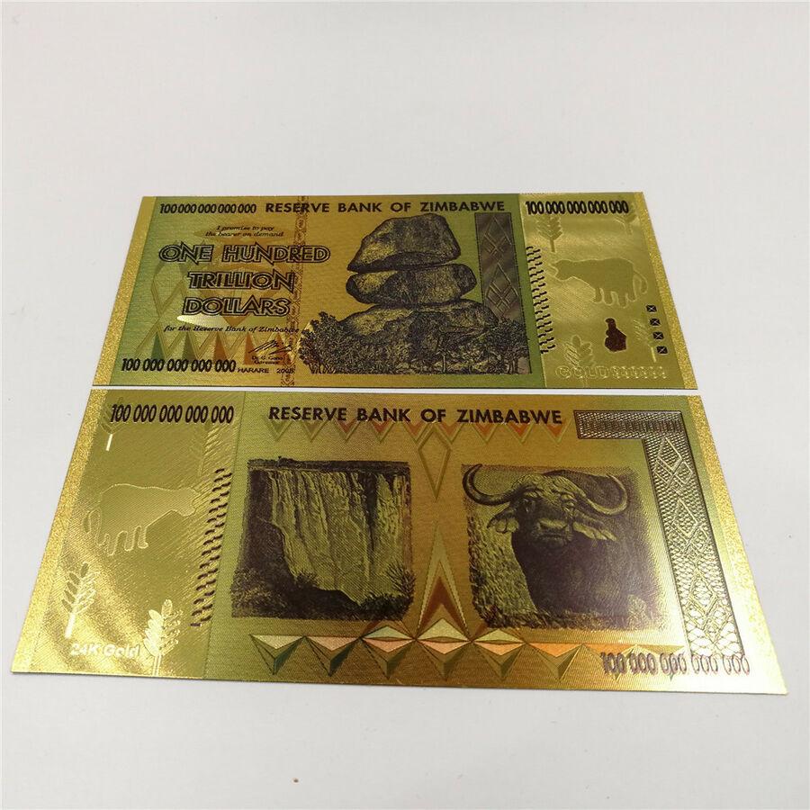 01 Tờ tiền 100 nghìn tỷ Zimbabwe siêu khủng lưu niệm bằng plastic vàng làm quà tặng - tặng kèm bao lì xì - The Merrick Mint