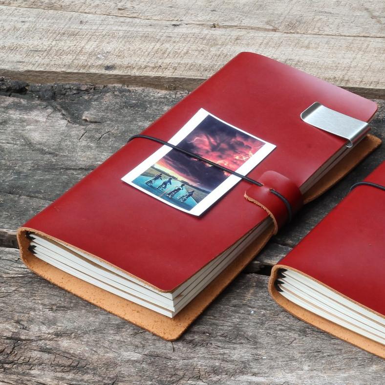 Sổ tay da thật handmade màu Đỏ Đô kèm 4 lõi giấy mềm mịn (256 trang)