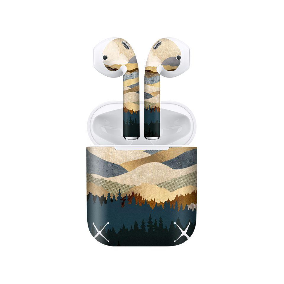 Miếng dán skin chống bẩn cho tai nghe AirPods in hình giả sơn mài - GSM114 (bản không dây 1 và 2)