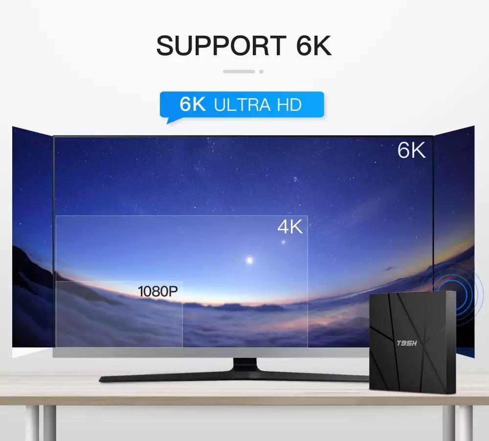 Android tivi box T95h có điều khiển giọng nói và cử chỉ 4GB RAM 32GB ROM android 10 có bluetooth