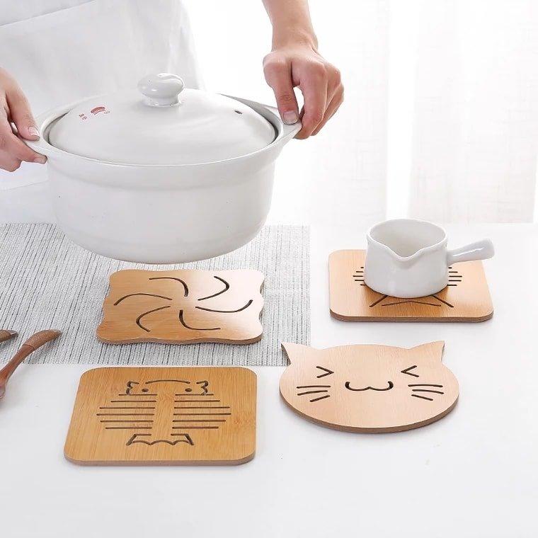 Set 6 miếng lót cốc gỗ không kèm kệ gỗ