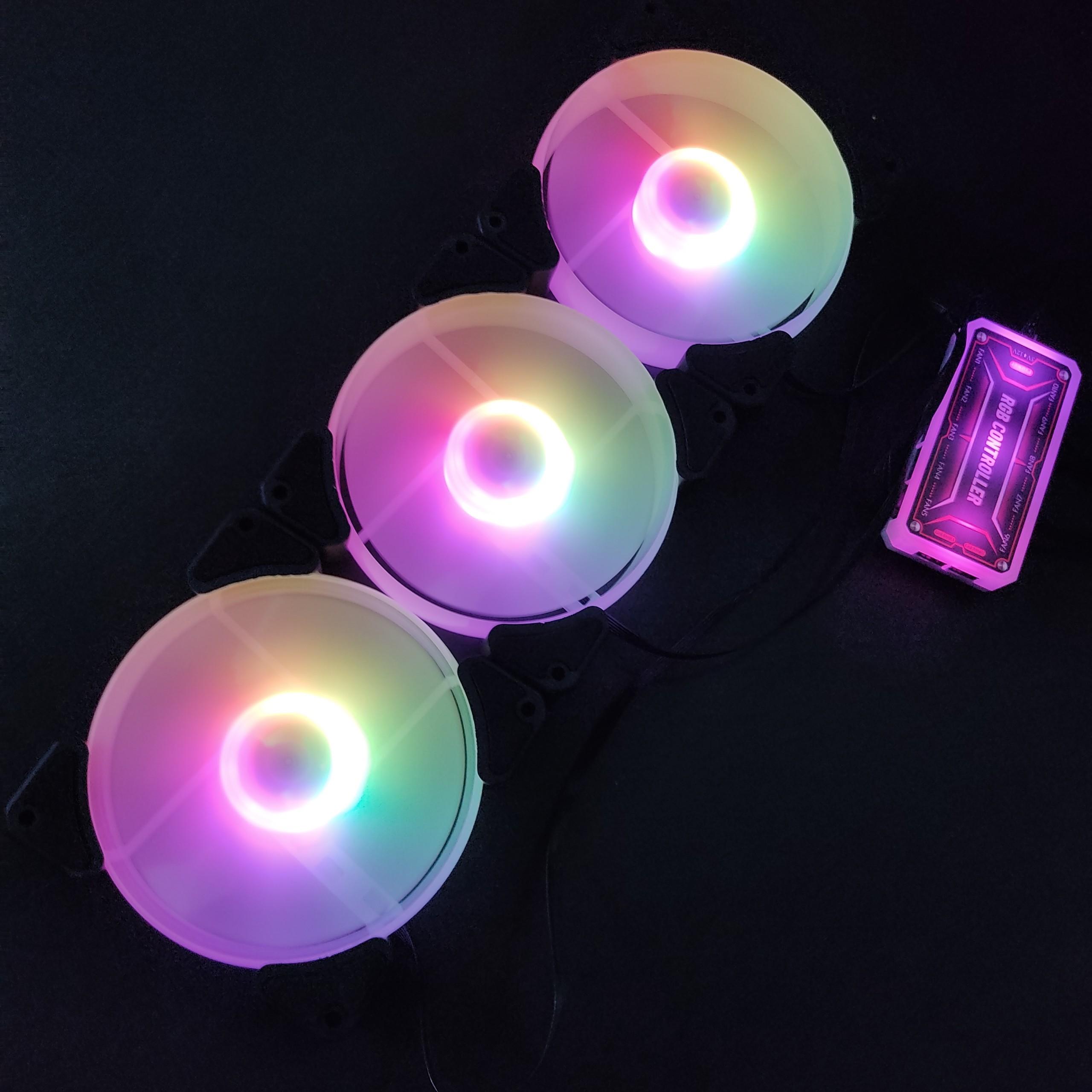 3 quạt tản nhiệt, Fan case KNC X Y1 Led RGB, quạt 12cm, kèm bộ Hub khiển Led ARGB chỉnh màu từ xa