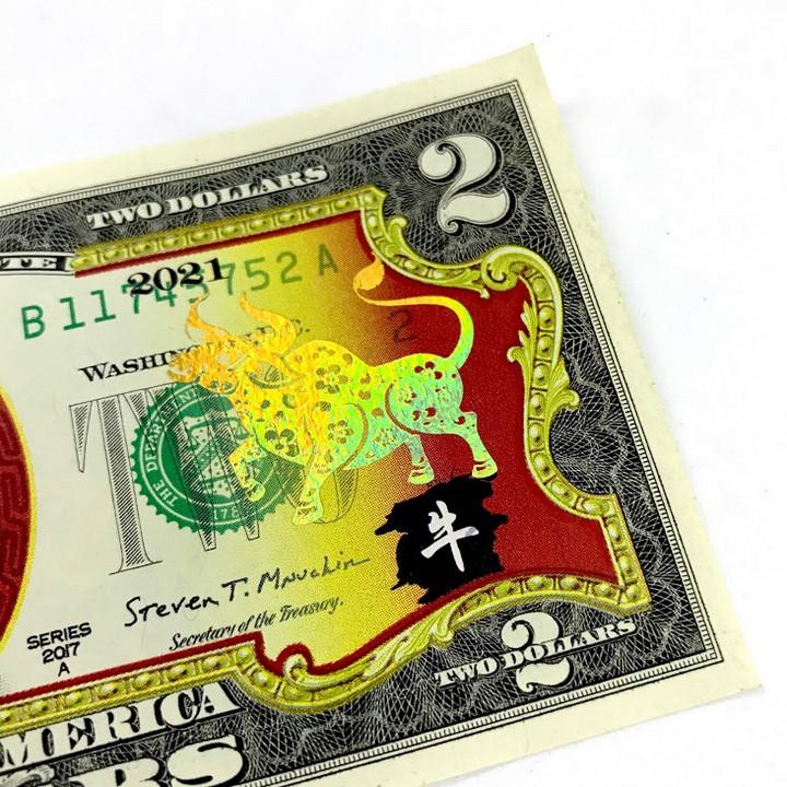 Combo 10 tờ 2 USD hình con Trâu mạ nhũ vàng 2021, dùng để sưu tầm, lưu niệm, làm tiền lì xì độc lạ, may mắn, ý nghĩa - TMT Collection - SP005110