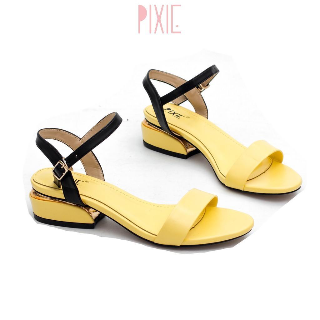 Giày Sandal 3cm Quai Mảnh Đế Vuông Viền Kim Loại Pixie X429