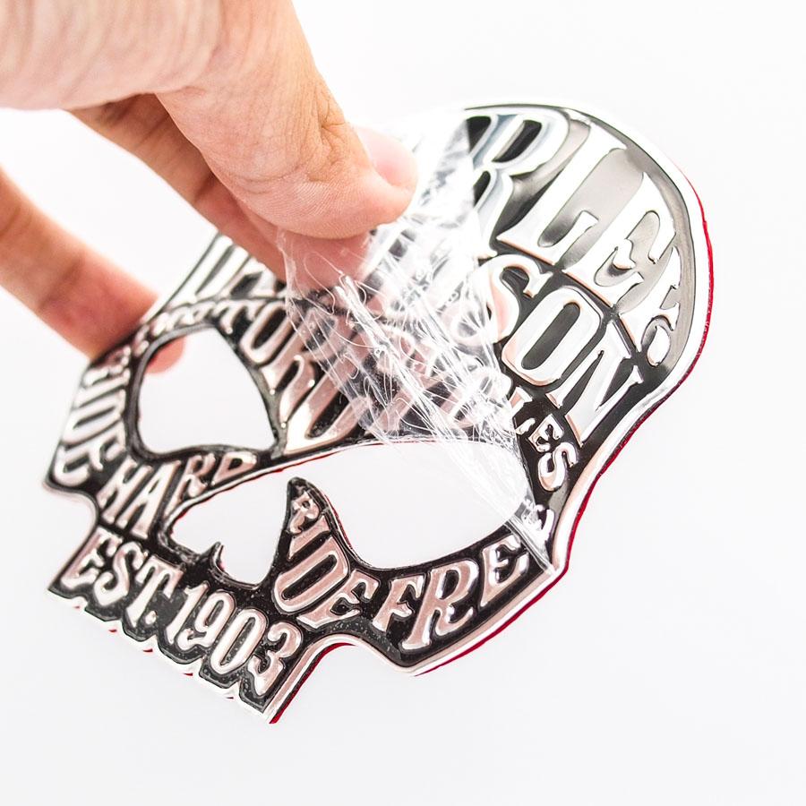Sticker hình dán metal Harley Davidson Đầu Lâu 1903 - Chữ bạc