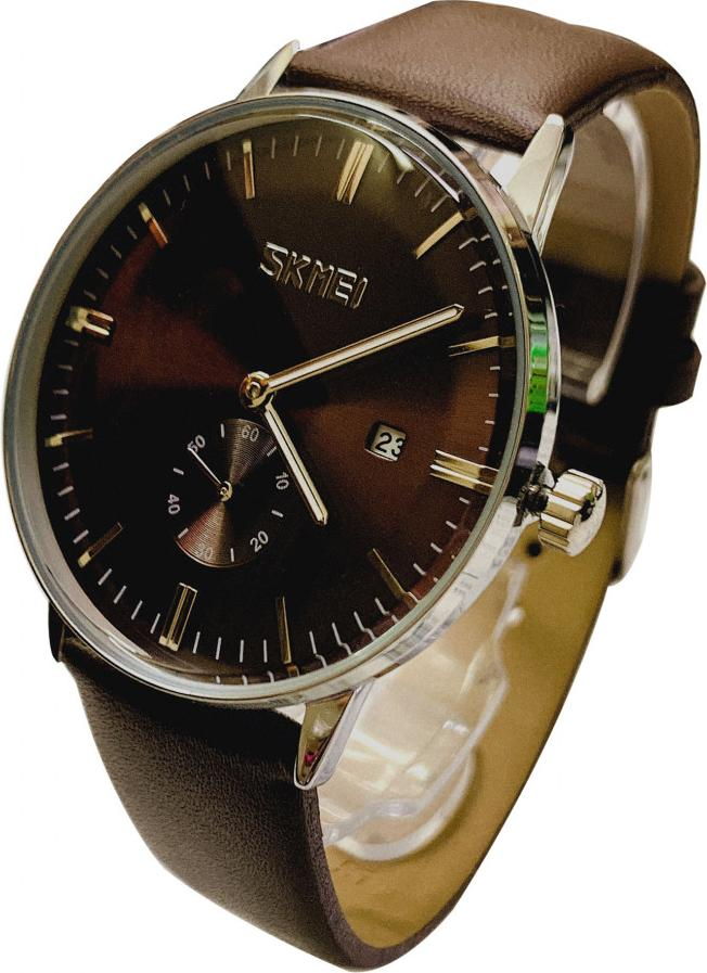 Đồng hồ Nam SKM 9083 dây da (Tặng pin Nhật sẵn trong đồng hồ + Móc Khóa gỗ Đồng hồ 888 + Hộp Chính Hãng)