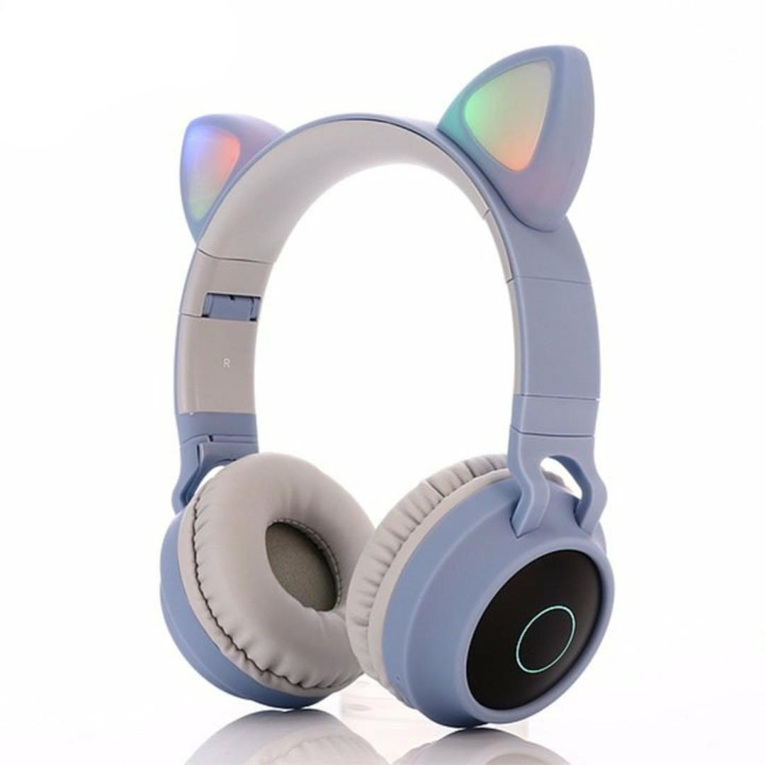 Tai nghe Mèo dễ thương, Chụp đầu Bluetooth BT028C có đèn nháy