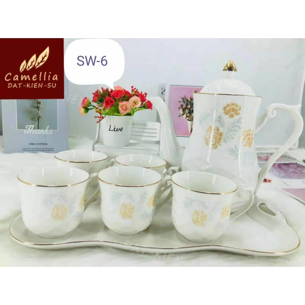 Bộ bình cốc kèm khay sứ pha trà cà phê dáng eo trắng họa tiết hoa vàng phong cách Châu Âu sang trọng