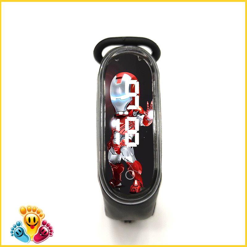 Đồng hồ trẻ em Silicon nhiều màu, đồng hồ điện tử thông minh cho bé E132 - người thép đen