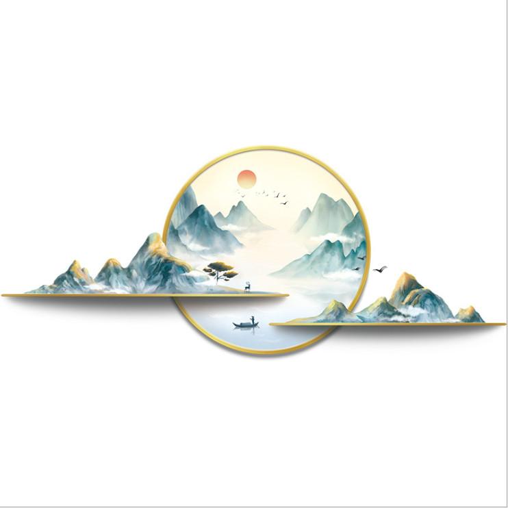 Decal dán tường tranh phong cảnh Sông núi 3D trang trí nhà cửa siêu đẹp, sáng tạo, sang trọng DKN147 (56 x 133 cm)