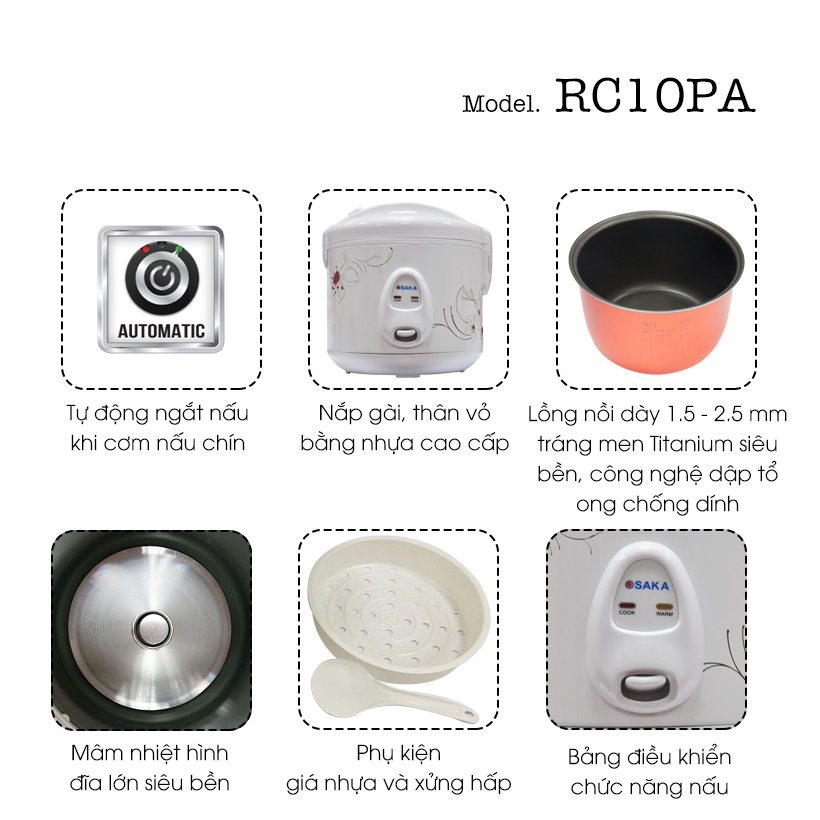 Nồi Cơm Điện Osaka RC10PA(1.0 Lít) - Hàng Chính Hãng