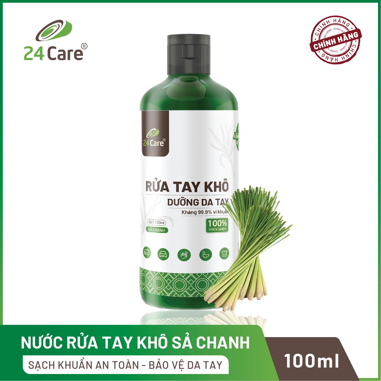 Nước rửa tay khô tinh dầu Sả Chanh 24Care diệt khuẩn - 100ml