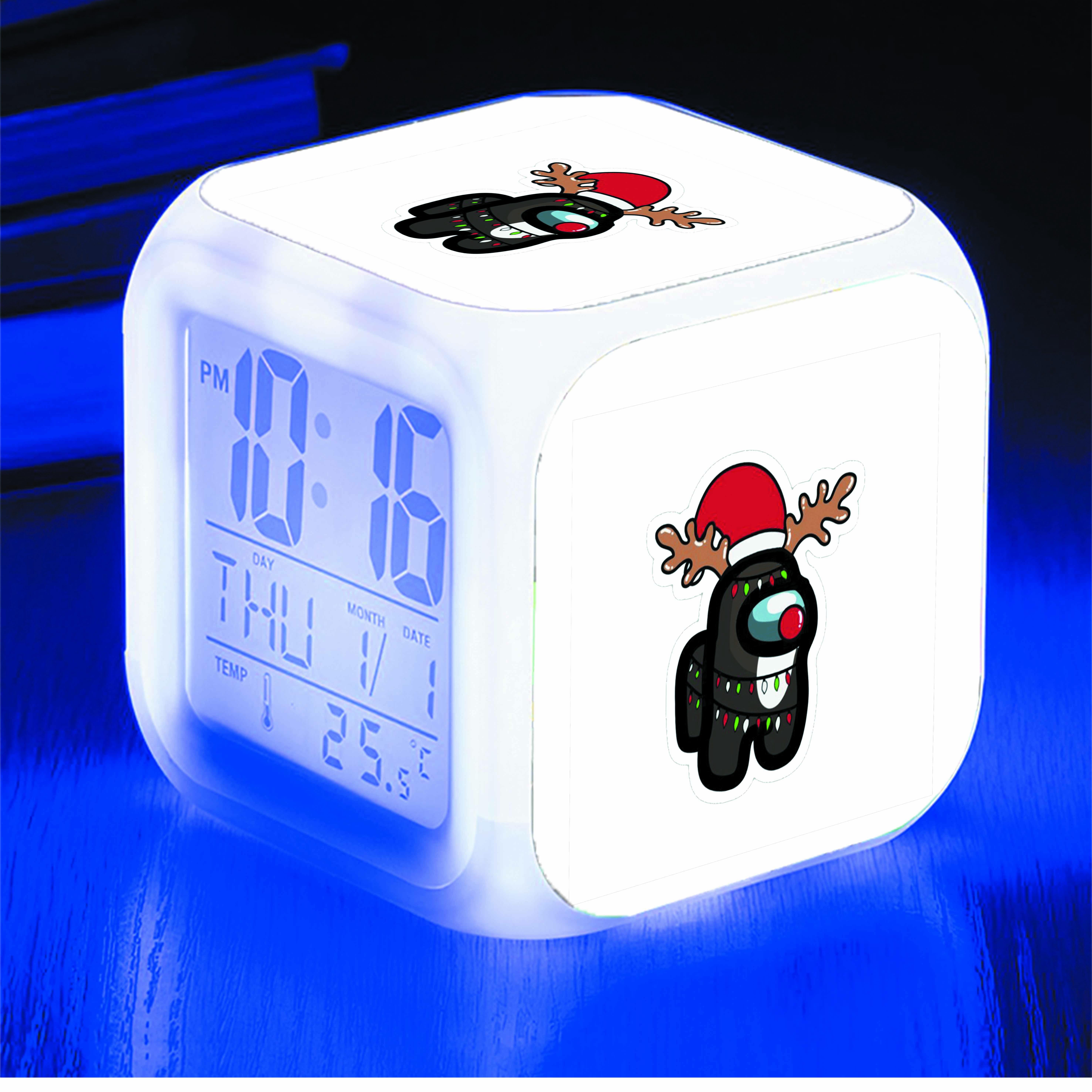 Đồng hồ báo thức để bàn IN HÌNH Among Us ver Giáng Sinh