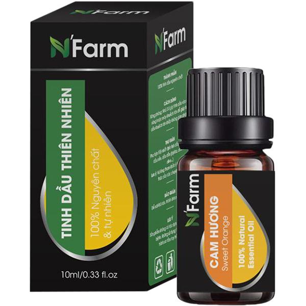 Combo Máy khuếch tán tinh dầu Bí Ngô gỗ nâu N'Farm NF2027, tinh dầu sả chanh, tinh dầu cam N'Farm (10ml x2)