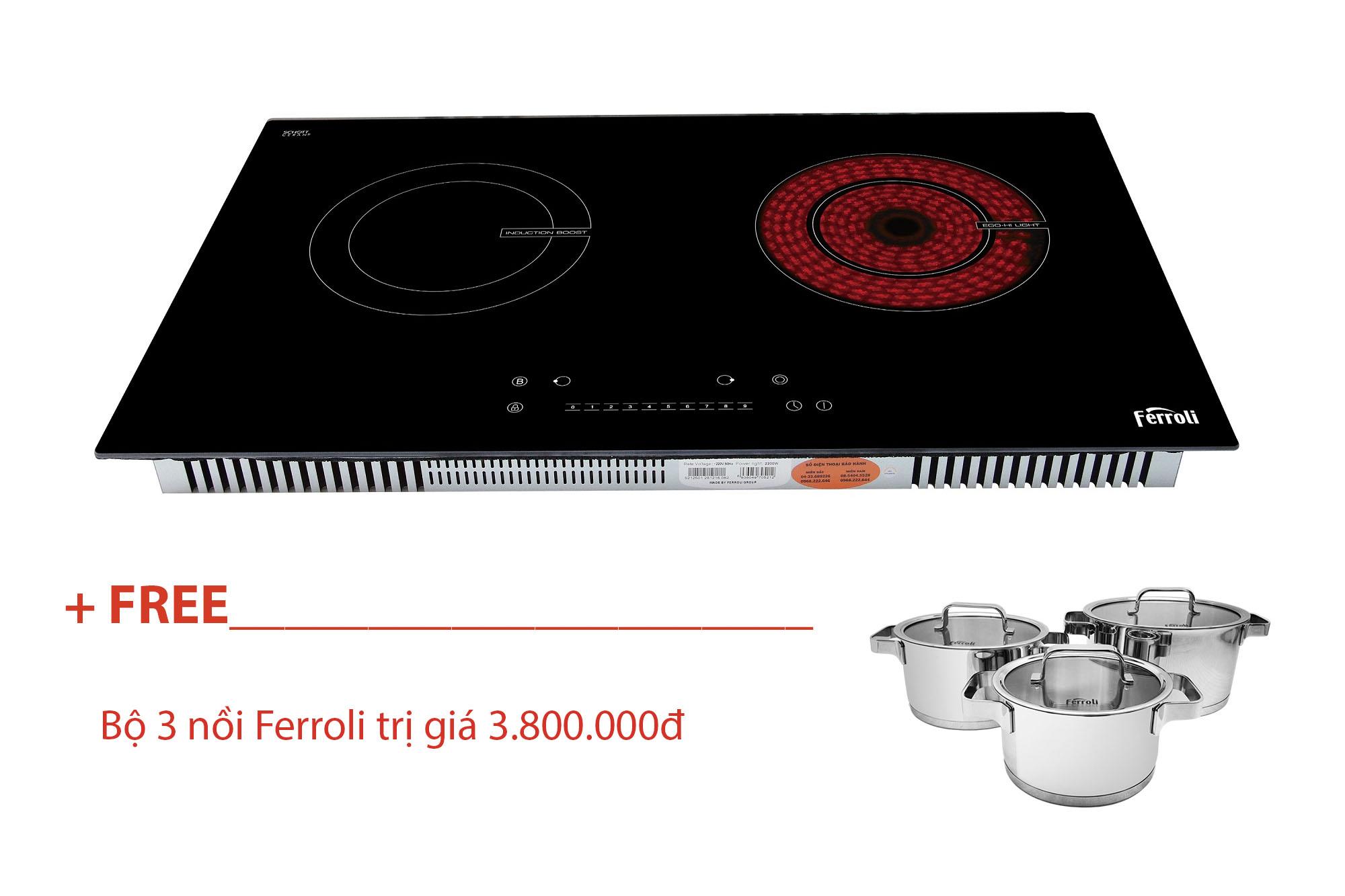 Bếp Đôi Từ Và Hồng Ngoại Ferroli IC4200BN - Hàng chính hãng