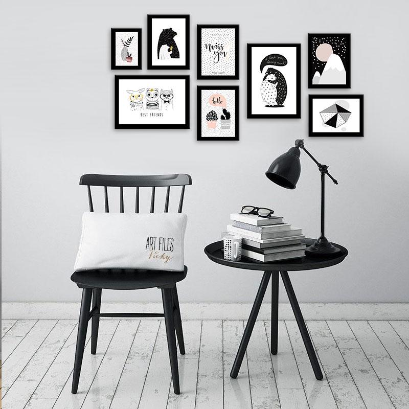 Combo 8 khung ảnh gỗ đen trơn kèm ảnh y hình – WK121