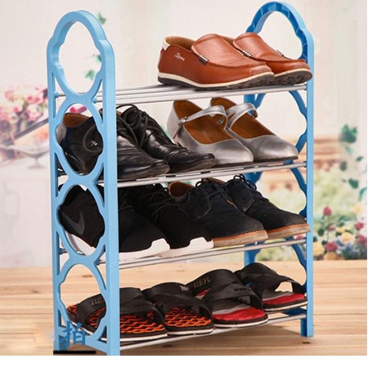 Kệ (giá) để giày dép 4 tầng tiết kiệm diện tích dễ dàng gấp gọn (giao màu ngẫu nhiên)