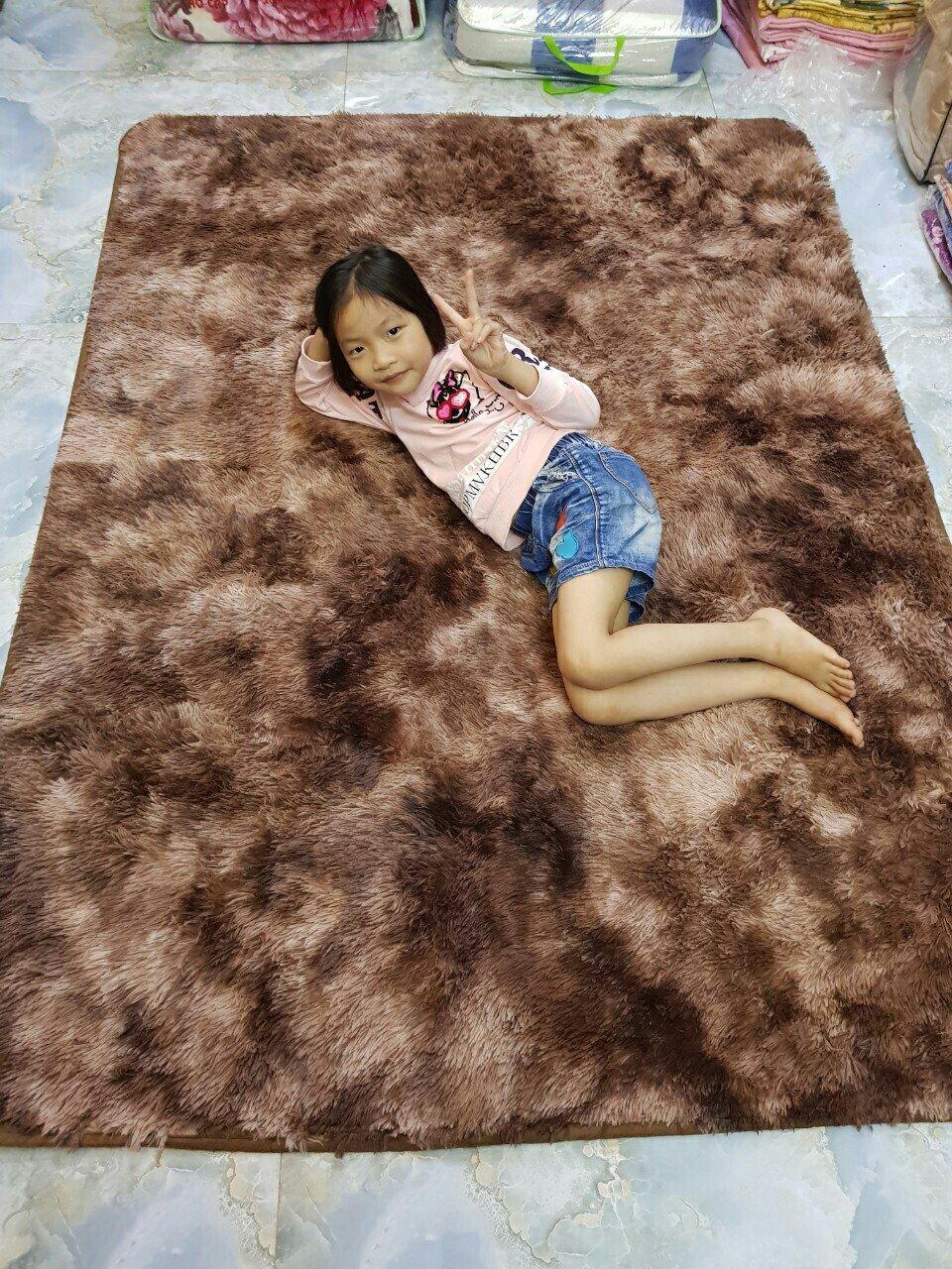 Thảm lông loang 1m6*2m cao cấp kèm Thảm chân cùng màu
