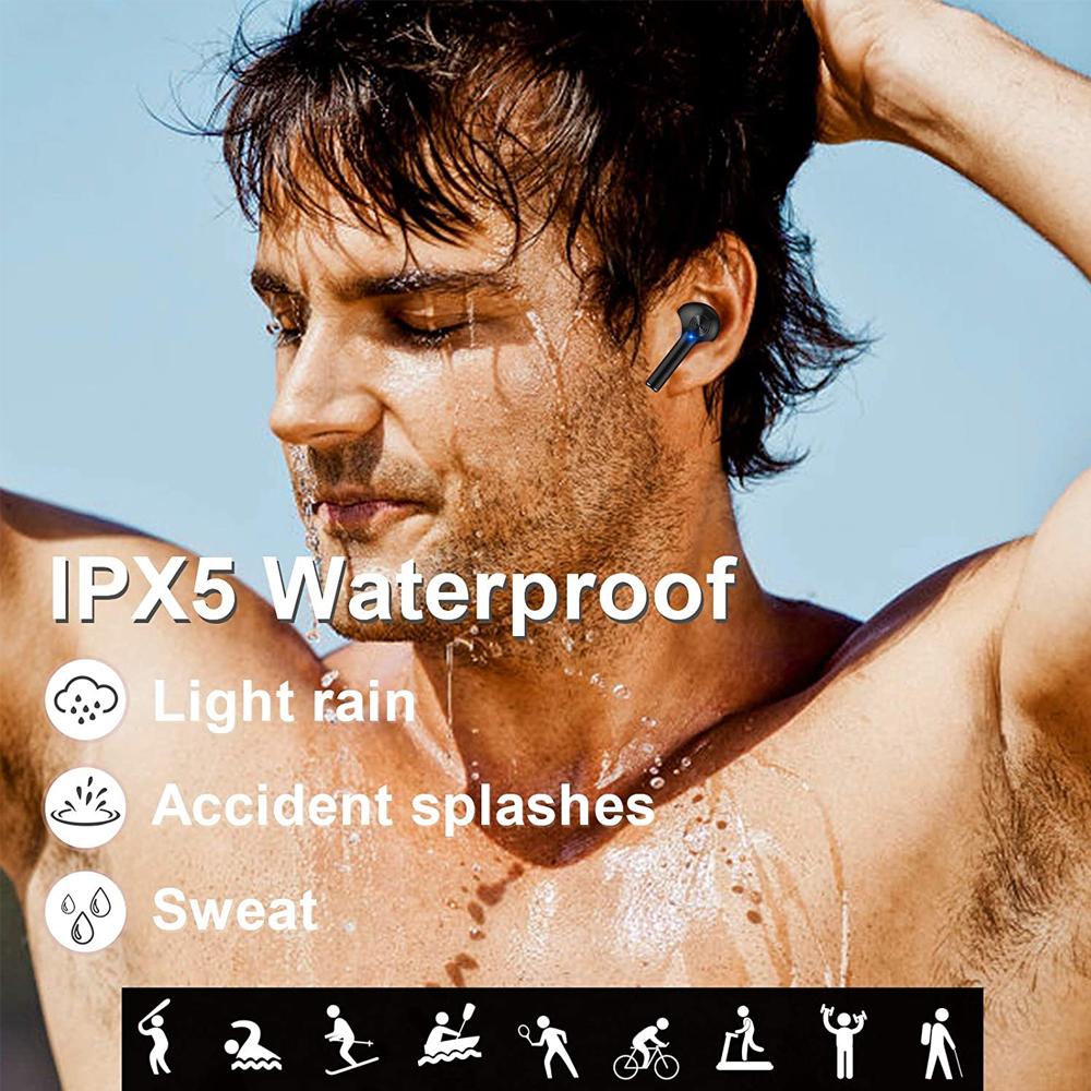 Tai nghe Bluetooth, Tai nghe không dây âm thanh nổi có micrô, Tai nghe thể thao chống nước IPX5 có vỏ sạc, Tai nghe điều khiển cảm ứng thông minh - Hàng Chính Hãng PKCB