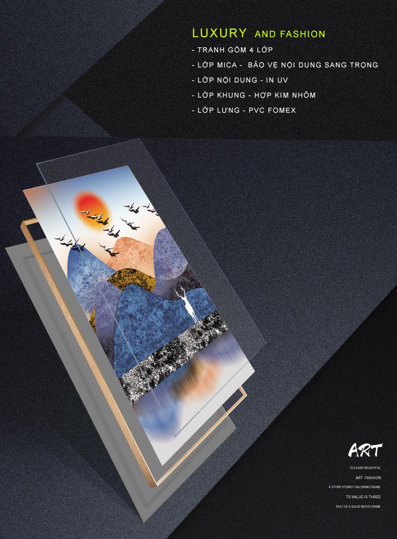Tranh phong thuỷ Mica 3 bức Những chú nai và hoàng hôn màu tím trừu tượng (Sơn Đầu Hỏa). Model: AZ3-0085. Khung nhôm hoặc Composite. Hình ảnh sắc nét, sang trọng, phù hợp nhiều không trang trí