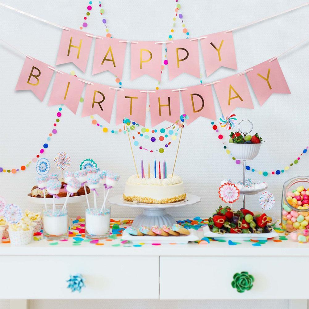 Dây treo trang trí sinh nhật chữ Happy Birthday màu hồng nhạt