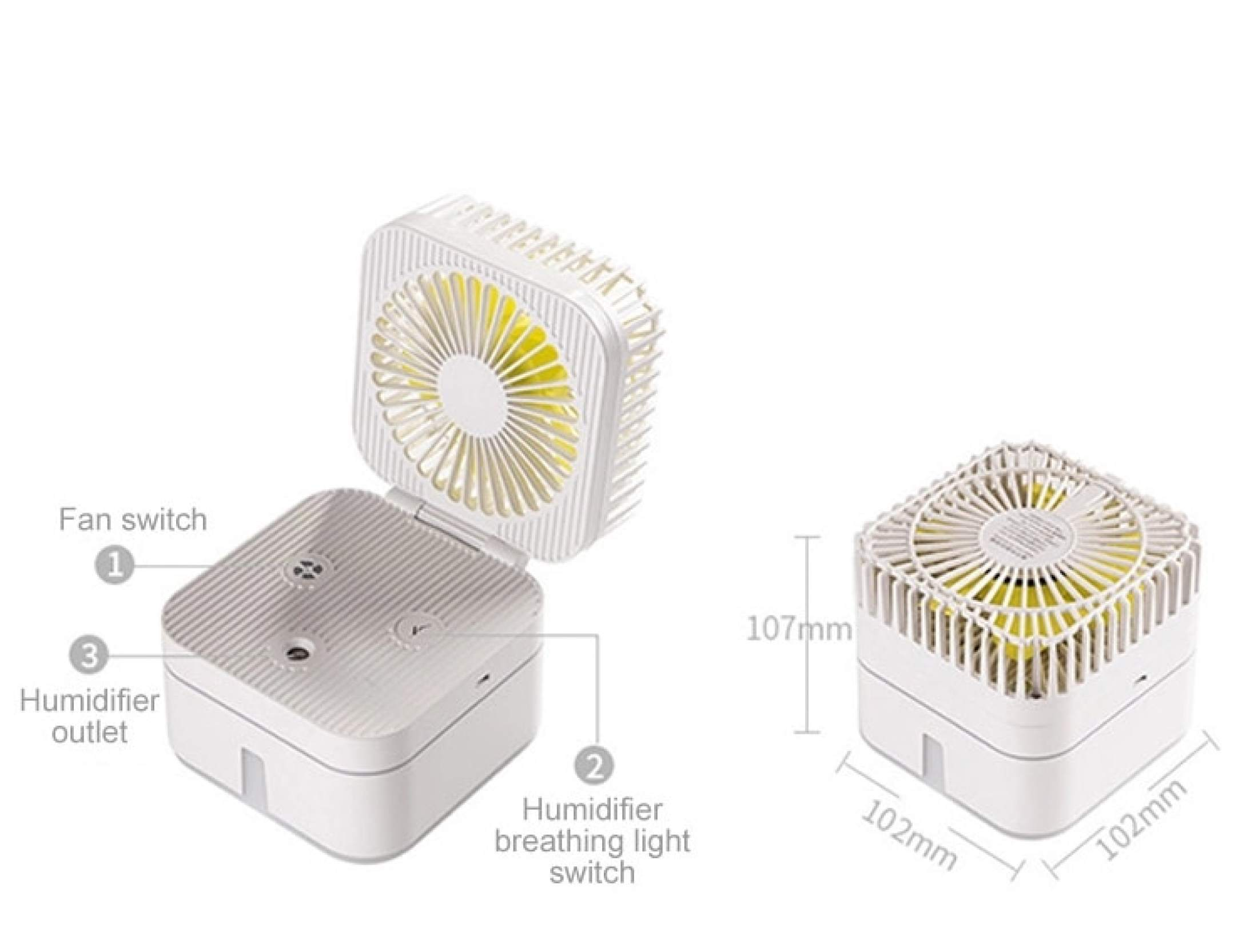 Máy tạo ẩm mini để bàn cắm cổng USB - Kết hợp quạt mini và phun sương tạo ẩm điều hòa không khí trong phòng