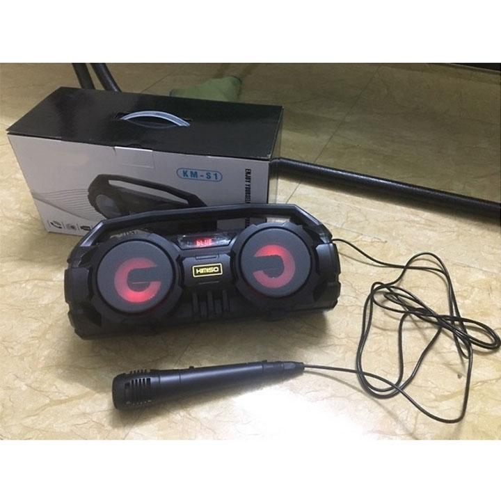 Loa Karaoke Bluetooth Xách Tay KM S1 Siêu Bass Kèm Mic Hát Tặng Giá Đỡ Điện Thoại Hình Hoa