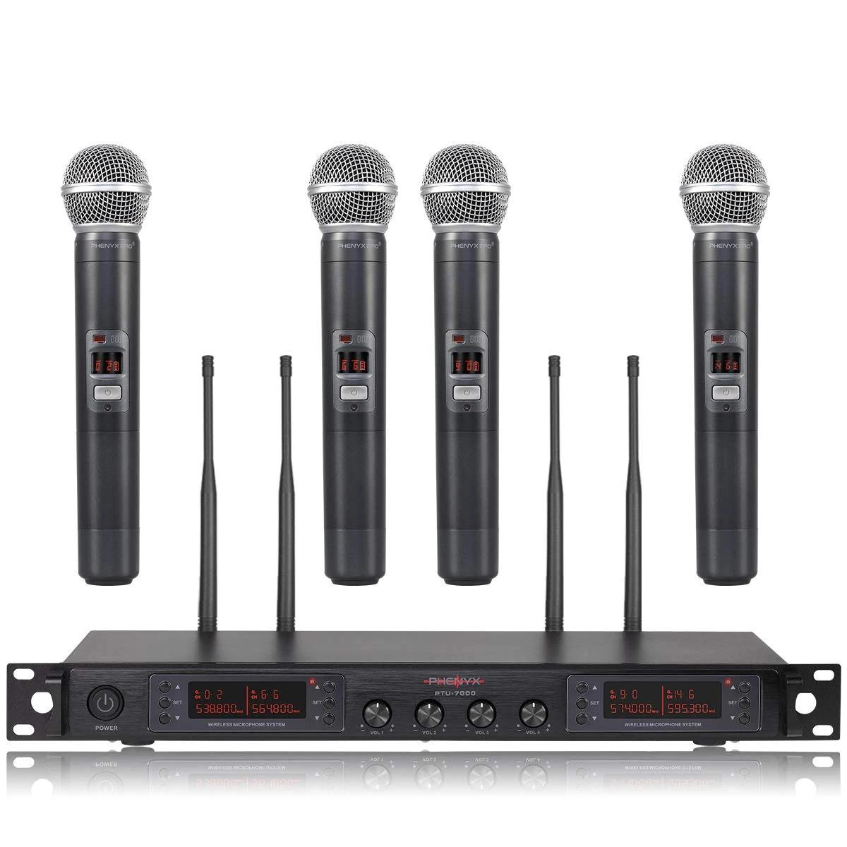 Hệ thống micrô không dây UHF 4 kênh Phenyx Pro PTU-7000A chính hãng với tính năng quét tự động ( 4x40 kênh)