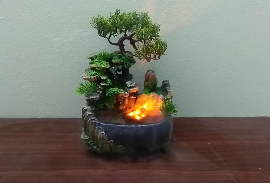 Máy tạo khói kèm đèn led đổi màu cho thác nước, tiểu cảnh, hồ cảnh mini