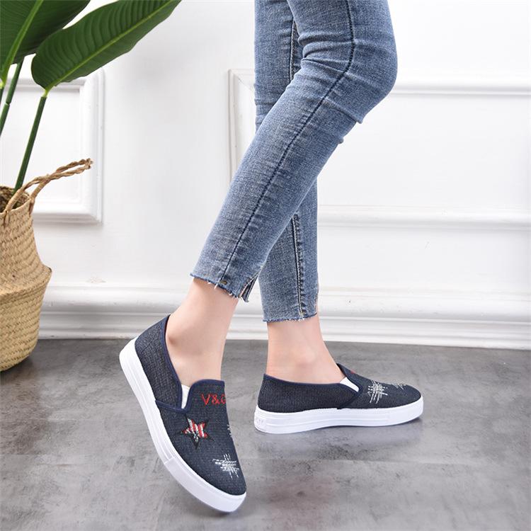 Giày lười nữ vải jean đế cao su mềm