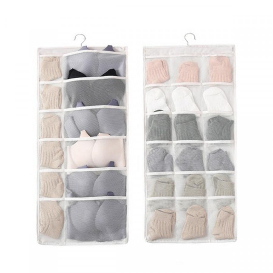 Túi đựng đồ lót nhiều ngăn có móc treo - Trắng