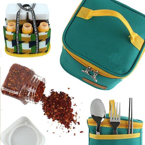 Set lọ đựng gia vị nhà bếp 7 món tặng kèm túi đựng đa năng