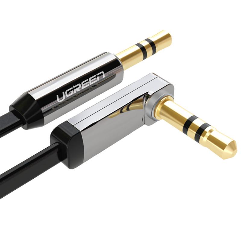 Dây Audio 3.5mm dẹt, mạ vàng 1 đầu vuông 90 dài 1.5m UGREEN AV119 10598 - Hàng chính hãng