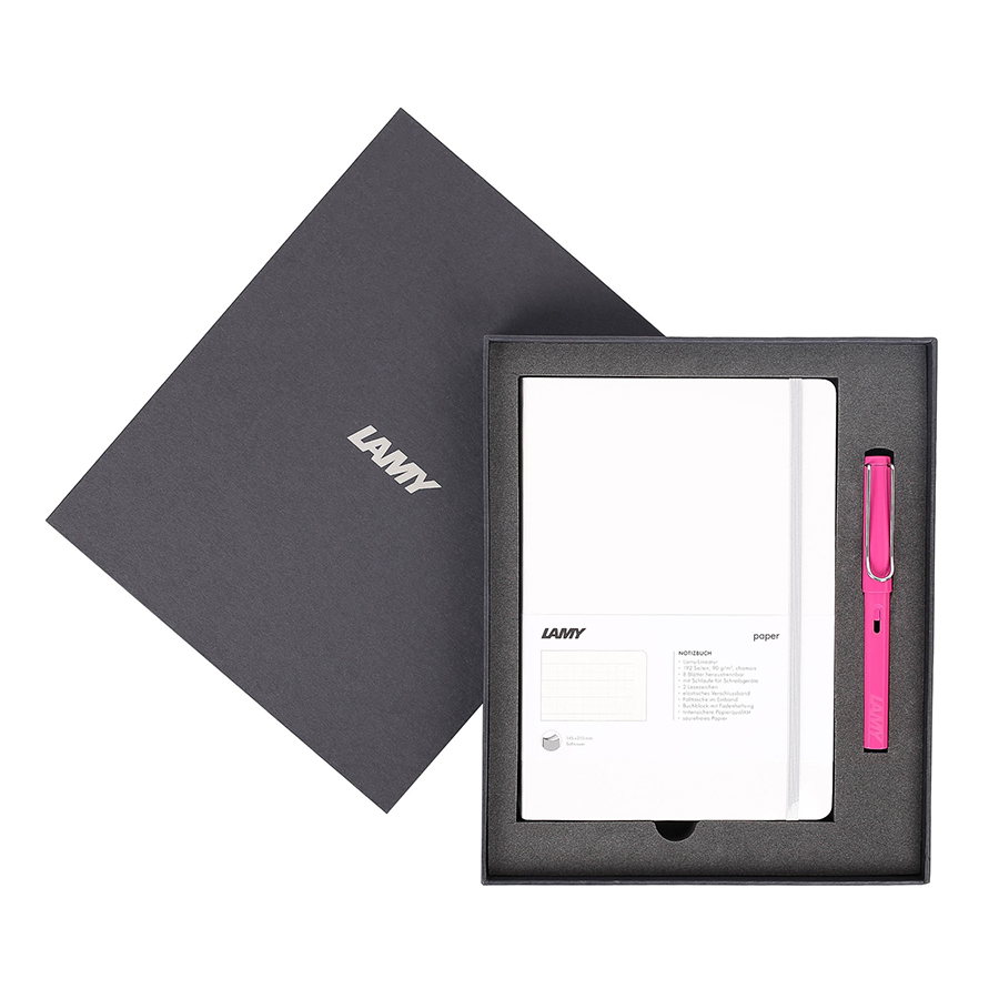 Lamy Notebook A5 Softcover White + Lamy Safari Pink - GSNSa0028
