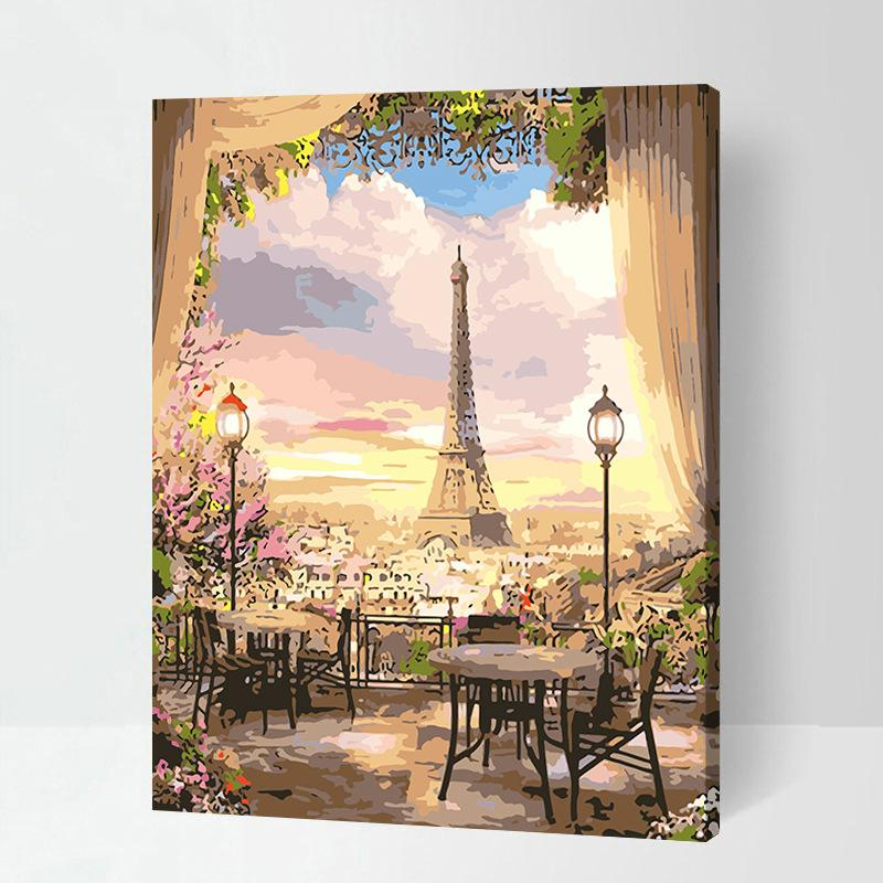Tranh tô màu sơn dầu theo số Thành Phố Paris