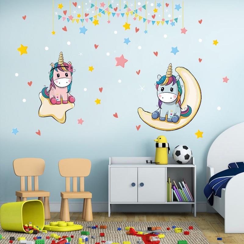 Decal dán tường Đôi ngựa hồng xanh Trang trí phòng cho bé đẹp