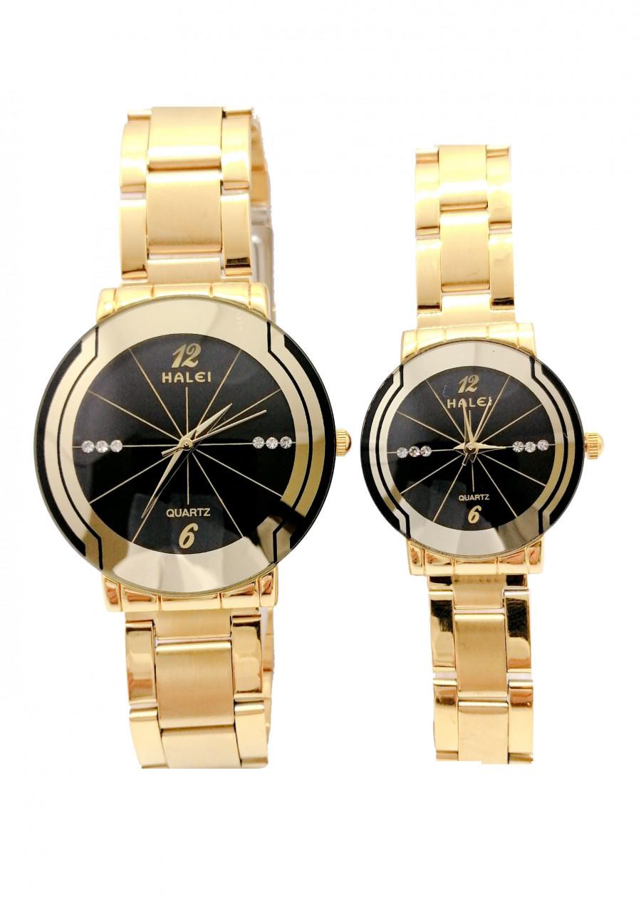 Cặp đồng hồ Nam Nữ Halei - HL457 Dây vàng